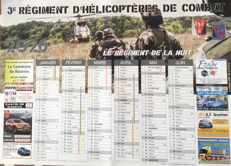 Photo calendrier 2020 recto du 3e RHC. Alat.fr